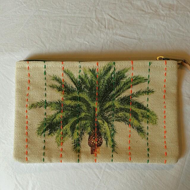 Polette Canvas Palm-print Pouch