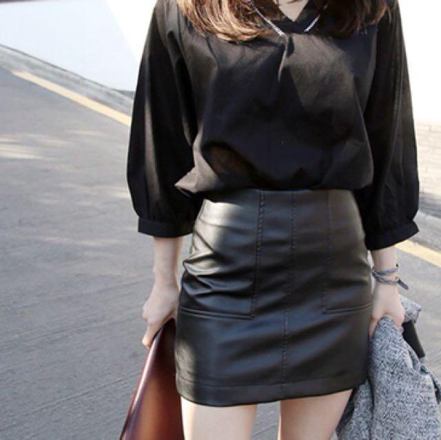 黑色質感包臀皮裙PU保暖