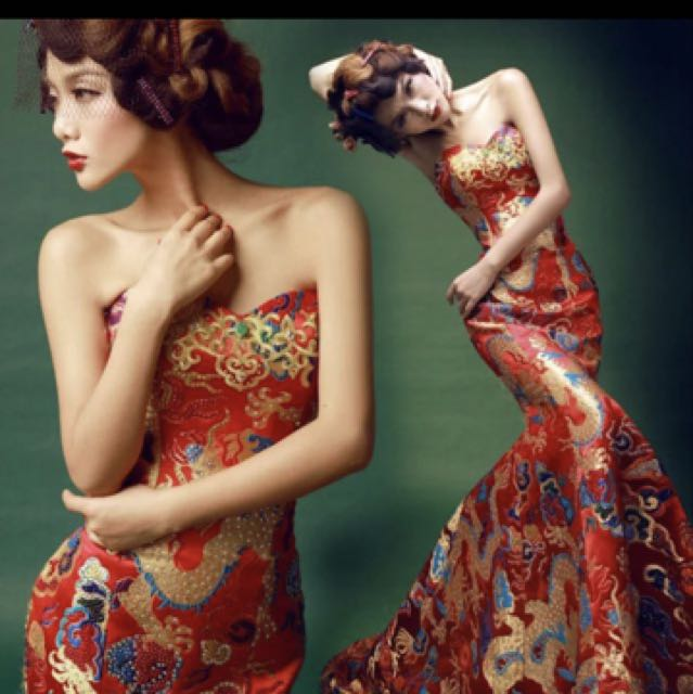 Red oriental embroidery mermaid gown