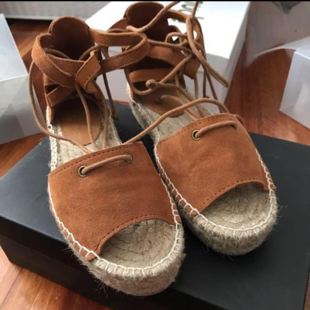 Seed Summer Tan Lace Up Espadrilles Fashion Designer