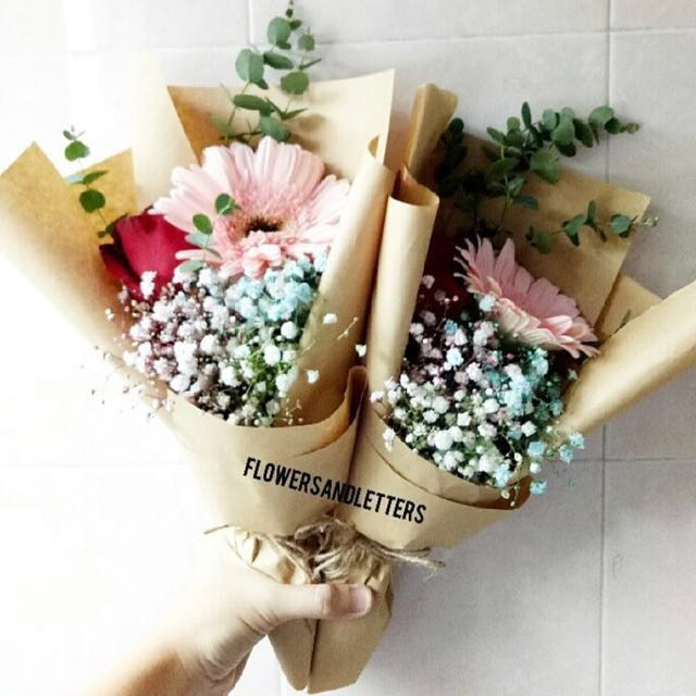 Flower bouquet brown paper ukrandiffusion flower bouquet brown paper single stalk of red rose single stalk of pink gerbera daisy mightylinksfo