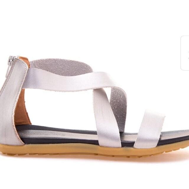 Spring Fling leather ankle strap sandals