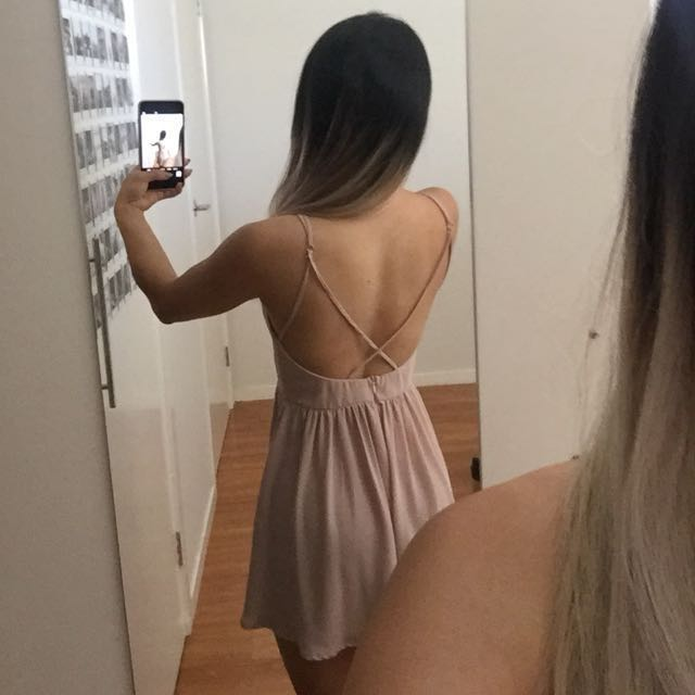 Strappy back pink playsuit