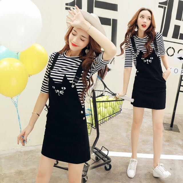 1140974431 Stripes Inner Top With Black Coloured Cat Embroidered Denim Overall ...