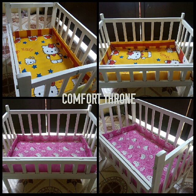 White Drop Side Crib with Mattress and Bumper Pad