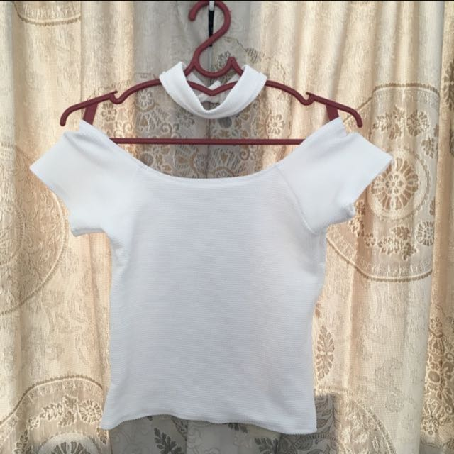White Offshoulder Top with Choker