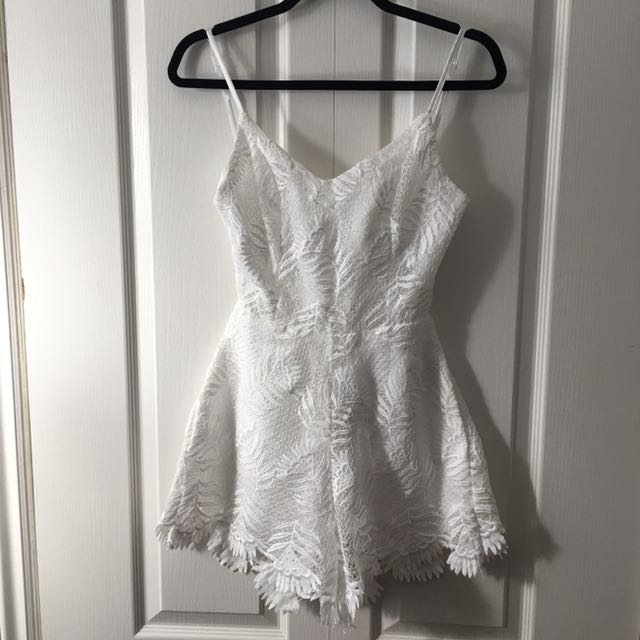 White Romper with Lace / Floral detail Sz S