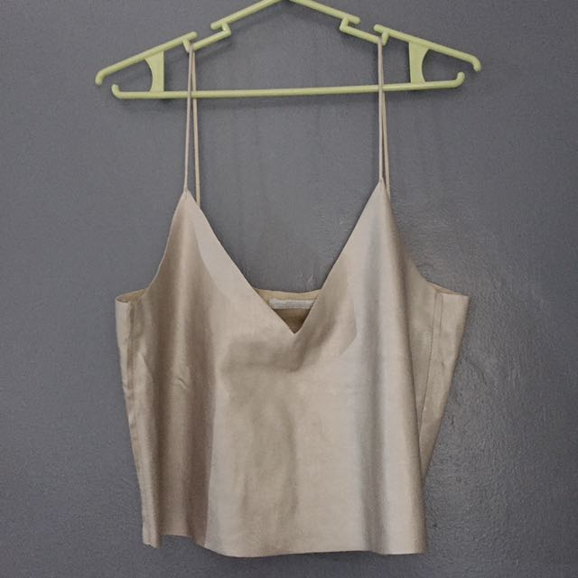 ZARA Silver leather tank