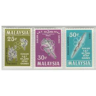 Malaysia 1965 3rd South East Asian Peninsular Games 3V Mint LH SG #28-30 (0261)