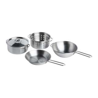 [IKEA] DUKTIG 5-piece toy cookware set / Stainless steel color