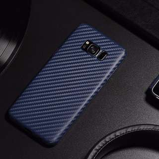 HOCO Ultra Slim Carbon Fiber Dirt Resistant TPU Cell Phone Case for Samsung Galaxy S8 Plus BLUE