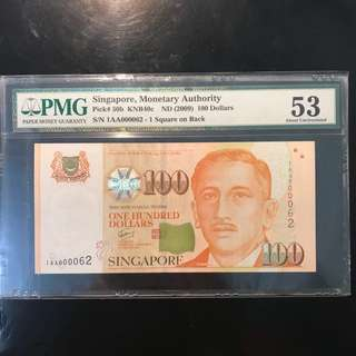 First Prefix Low Number Non Auction Number! 2009 Singapore 🇸🇬 $100 Portrait Series GCT Sign, First Prefix 1AA 000062 Low Number PMG 53, Sincere Collector Will Get A 一帆风顺 Ship $1 000062 As A Complimentary Gift To Match The Same Number For Collection.