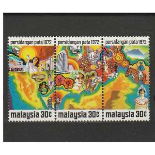 Malaysia 1972 Pacific Area Tourist Association Conference - PATA horizontal strip of 3V Mint MNH SG #95a (0265)