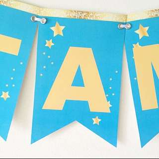 Handmade customised Gold And turquoise star banner