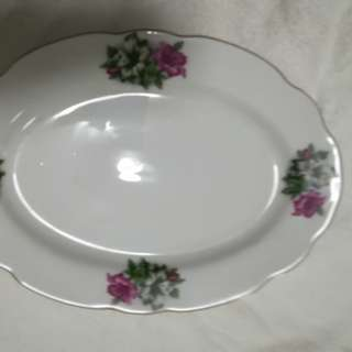 ceramic dish plate ... flowers ....SET of 2