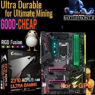 Gigabyte Z370 AORUS Ultra Gaming. for 8 GPU....Mining ( Ex-Stock Today 03 Feb 2018) RGB + High resale value. ( 6 month ago, OLD )