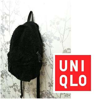 Uniqlo Black Fur Backpack
