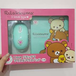 Rilakkuma wired mouse and mat