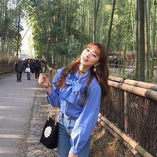 韓國復古蝴蝶結泡泡袖上衣