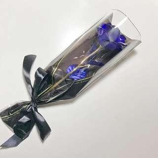 Valentines Blue 24K Gold Foil Rose Flower Gift