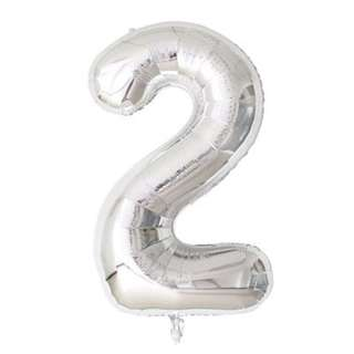 "40"" SILVER HELIUM BALLOONS NUMBER"
