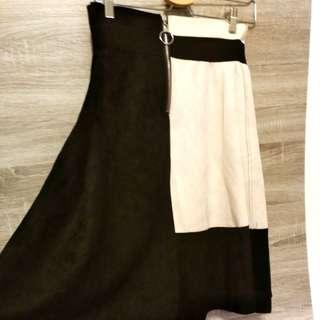 雙色造型麂皮裙