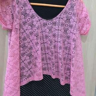Baju bkk pink bunga brokat bangkok