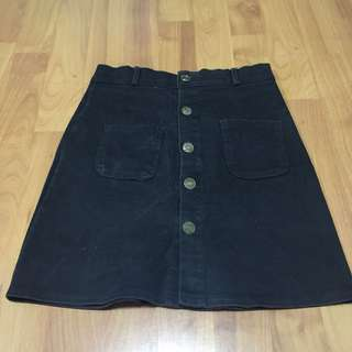 Black Denim Button Down Skirt