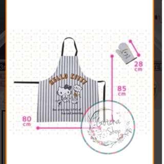 日本景品HelloKitty圍裙連隔熱手套