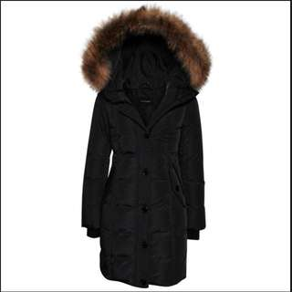 Mackage Marion Black Fitted Down Parka Fur Hood