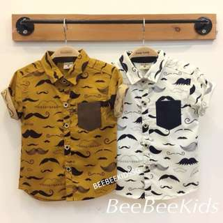 MUSTACHE PRINTS BUTTON-UP