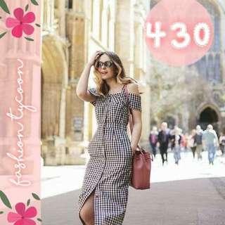 checkered long dress
