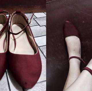 Ankle strap flat shoes or doll shoes