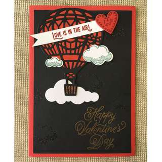 Handmade Hot Air Balloon Valentine's Day Card