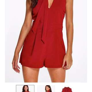 Wine Tie-Neck Playsuit