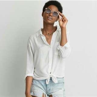 American Eagle White Tie Oversized Fit Shirt