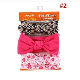 3 Pc Set Bow Flower Headband