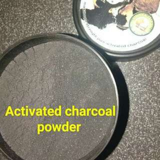 Pure finely grained activated charcoal powder
