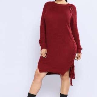 Fashion Nova Burgundy Lace Up Tunic