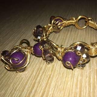 Purple Bracelet and Ring Set