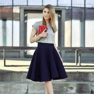 Print Top & Plain Skirt Terno