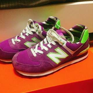 New Balance 574 purple& green