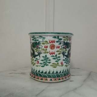 Republic Period Brush Pot with enamel painting height 18cm diameter 21cm perfect
