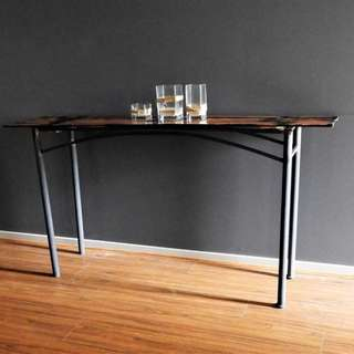Handcrafted industrial design hall table