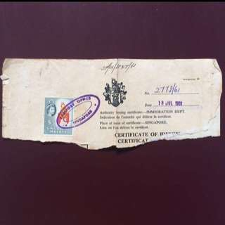 Stamp - Malaya Singapore - Queen Elizabeth II $5 on old Document with a nice passport chop