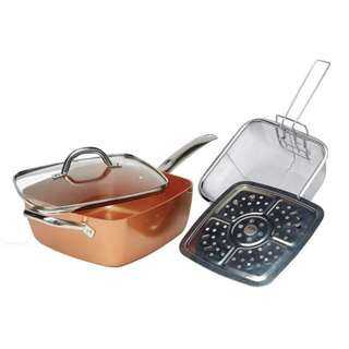 9.5-inches Cermi-Tech Non-Stick Deep Dish Square Pan Set