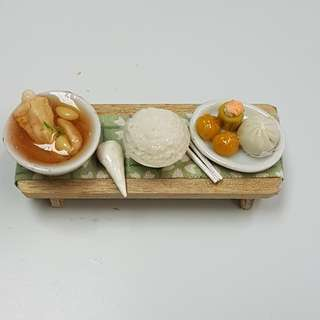 Handmade Miniature Table with Bak Kuh Teh with Rice + Dimsum