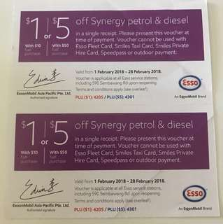 WTB esso vouchers Feb and Mar