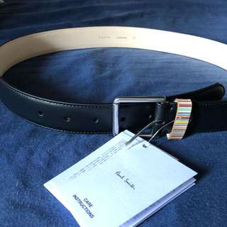 Paul Smith Black Leather Belt with Signature keeper