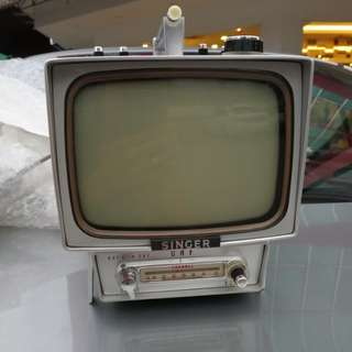Vintage 1965 Singer Portable TV with leather box and manual